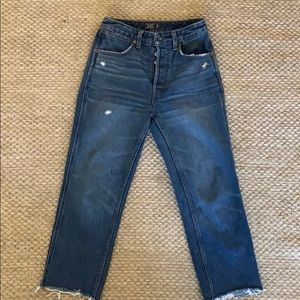 Abercrombie high rise ankle straight jeans